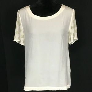 Addison Silk Blouse S Top Off White Bead Sleeves